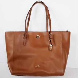 Coach Crossgrain Leather Turnlock Tote in Saddle